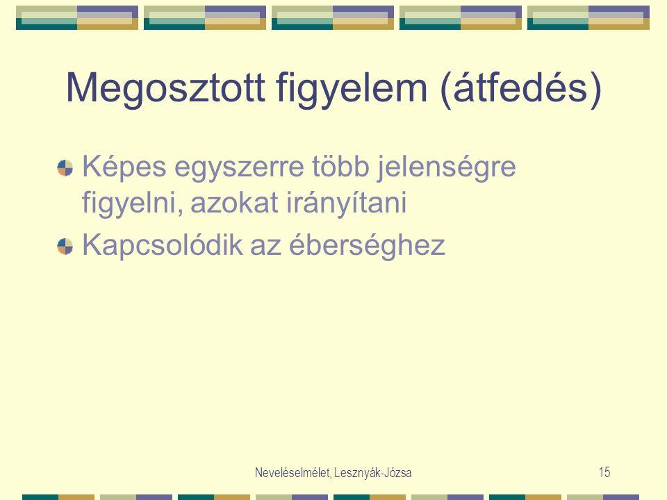 Neveléselmélet, Lesznyák-Józsa15 Megosztott figyelem (átfedés) Képes egyszerre több jelenségre figyelni, azokat irányítani Kapcsolódik az éberséghez