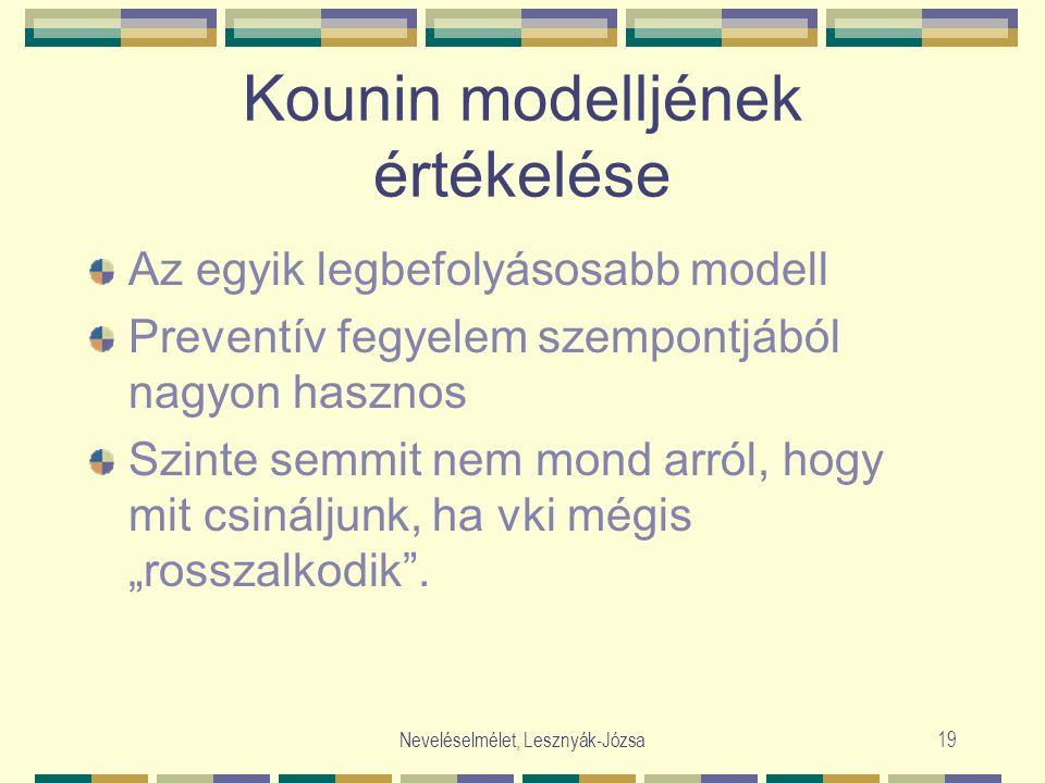 """Neveléselmélet, Lesznyák-Józsa19 Kounin modelljének értékelése Az egyik legbefolyásosabb modell Preventív fegyelem szempontjából nagyon hasznos Szinte semmit nem mond arról, hogy mit csináljunk, ha vki mégis """"rosszalkodik ."""