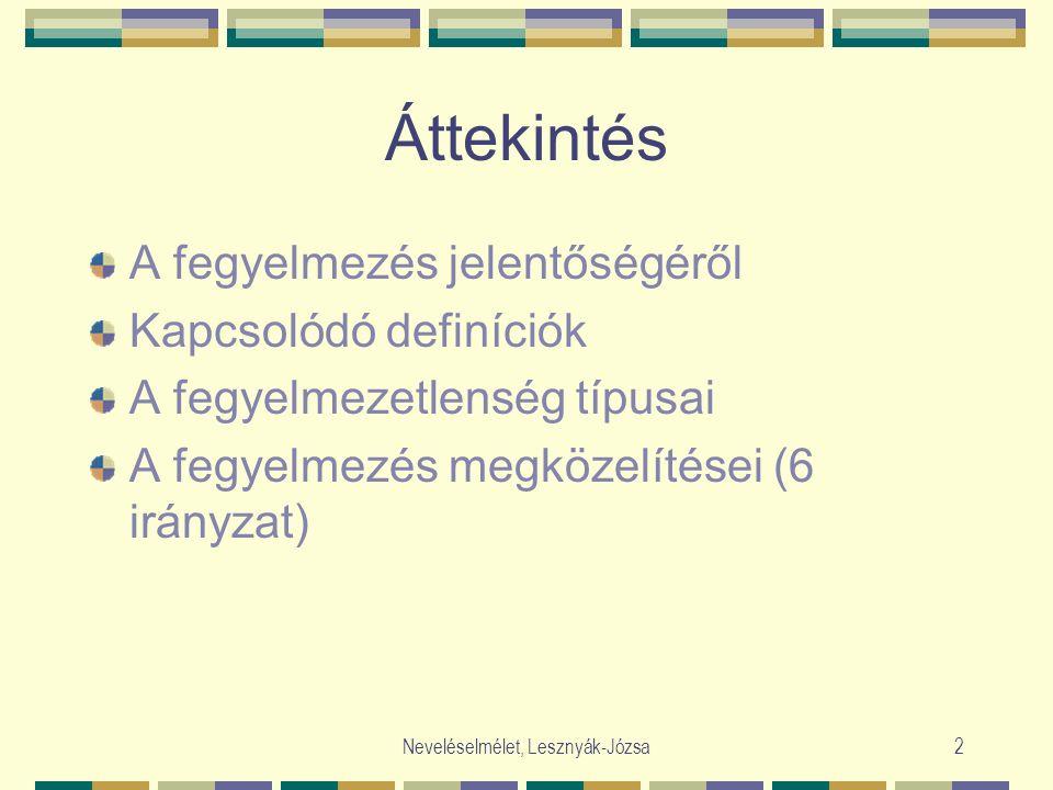 Neveléselmélet, Lesznyák-Józsa2 Áttekintés A fegyelmezés jelentőségéről Kapcsolódó definíciók A fegyelmezetlenség típusai A fegyelmezés megközelítései