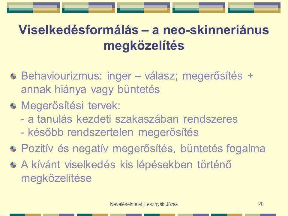 Neveléselmélet, Lesznyák-Józsa20 Viselkedésformálás – a neo-skinneriánus megközelítés Behaviourizmus: inger – válasz; megerősítés + annak hiánya vagy