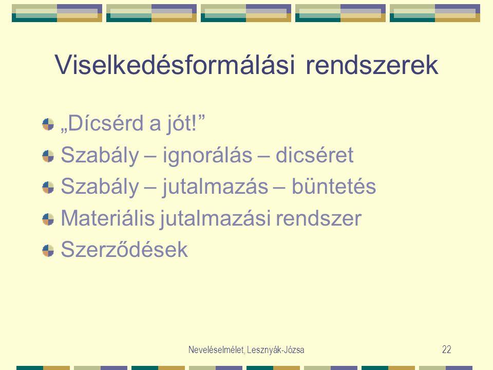 """Neveléselmélet, Lesznyák-Józsa22 Viselkedésformálási rendszerek """"Dícsérd a jót! Szabály – ignorálás – dicséret Szabály – jutalmazás – büntetés Materiális jutalmazási rendszer Szerződések"""