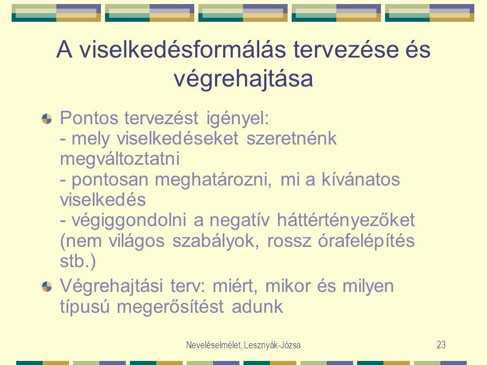 Neveléselmélet, Lesznyák-Józsa23 A viselkedésformálás tervezése és végrehajtása Pontos tervezést igényel: - mely viselkedéseket szeretnénk megváltozta