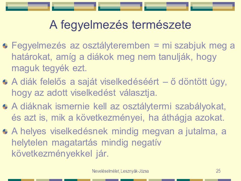 Neveléselmélet, Lesznyák-Józsa25 A fegyelmezés természete Fegyelmezés az osztályteremben = mi szabjuk meg a határokat, amíg a diákok meg nem tanulják, hogy maguk tegyék ezt.