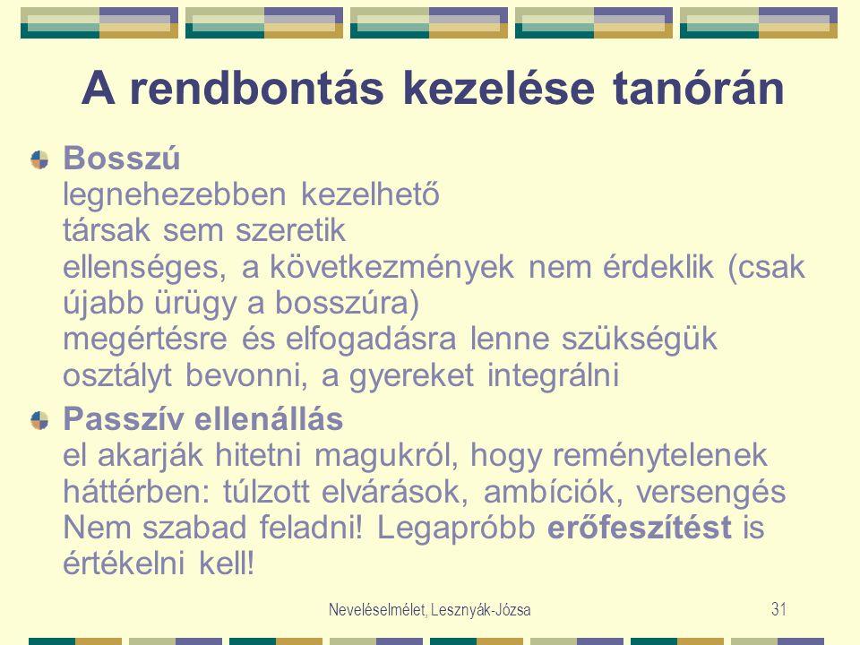 Neveléselmélet, Lesznyák-Józsa31 A rendbontás kezelése tanórán Bosszú legnehezebben kezelhető társak sem szeretik ellenséges, a következmények nem érd