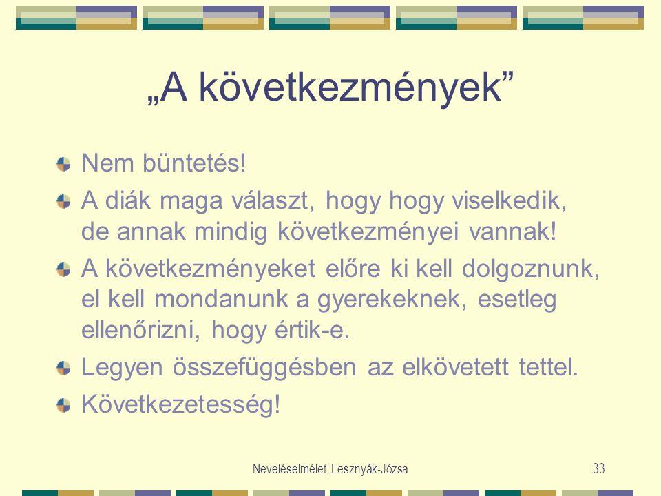 """Neveléselmélet, Lesznyák-Józsa33 """"A következmények"""" Nem büntetés! A diák maga választ, hogy hogy viselkedik, de annak mindig következményei vannak! A"""