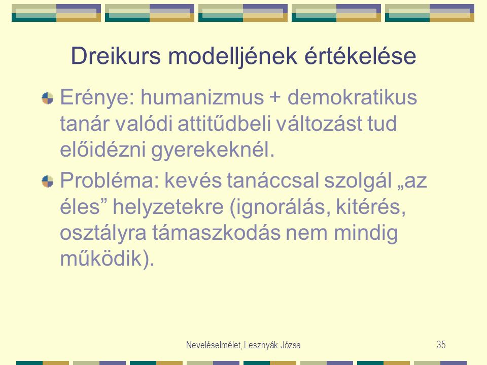 Neveléselmélet, Lesznyák-Józsa35 Dreikurs modelljének értékelése Erénye: humanizmus + demokratikus tanár valódi attitűdbeli változást tud előidézni gyerekeknél.