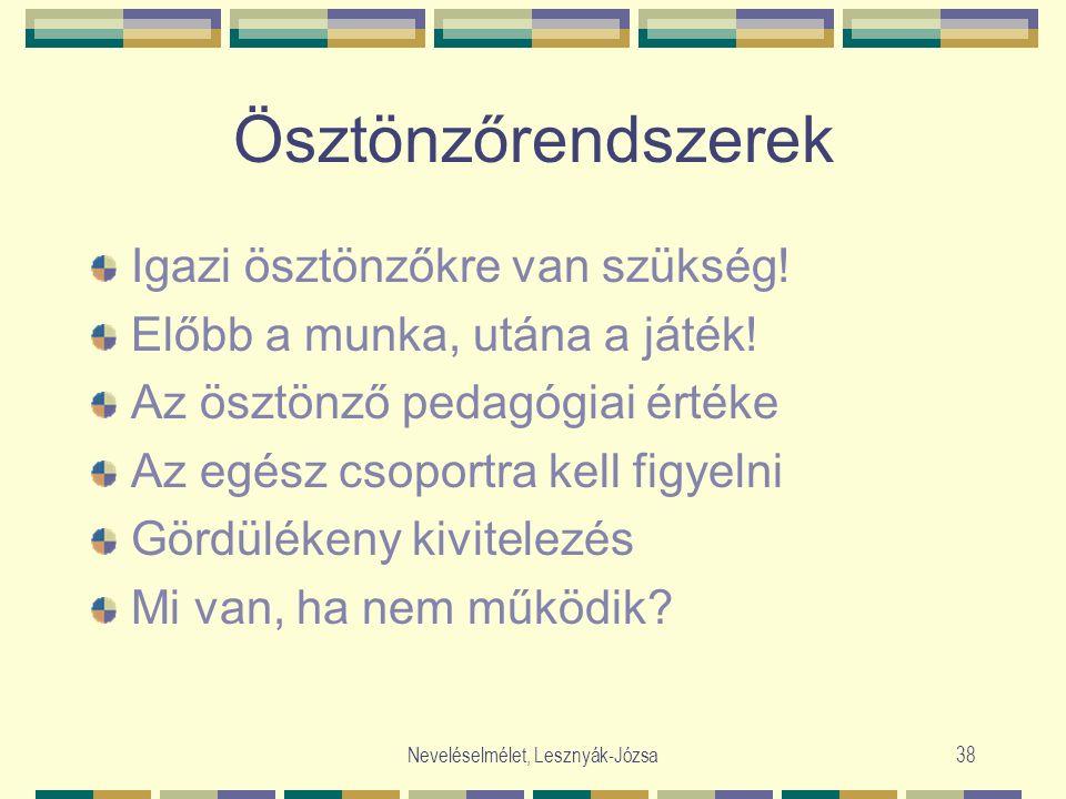 Neveléselmélet, Lesznyák-Józsa38 Ösztönzőrendszerek Igazi ösztönzőkre van szükség! Előbb a munka, utána a játék! Az ösztönző pedagógiai értéke Az egés
