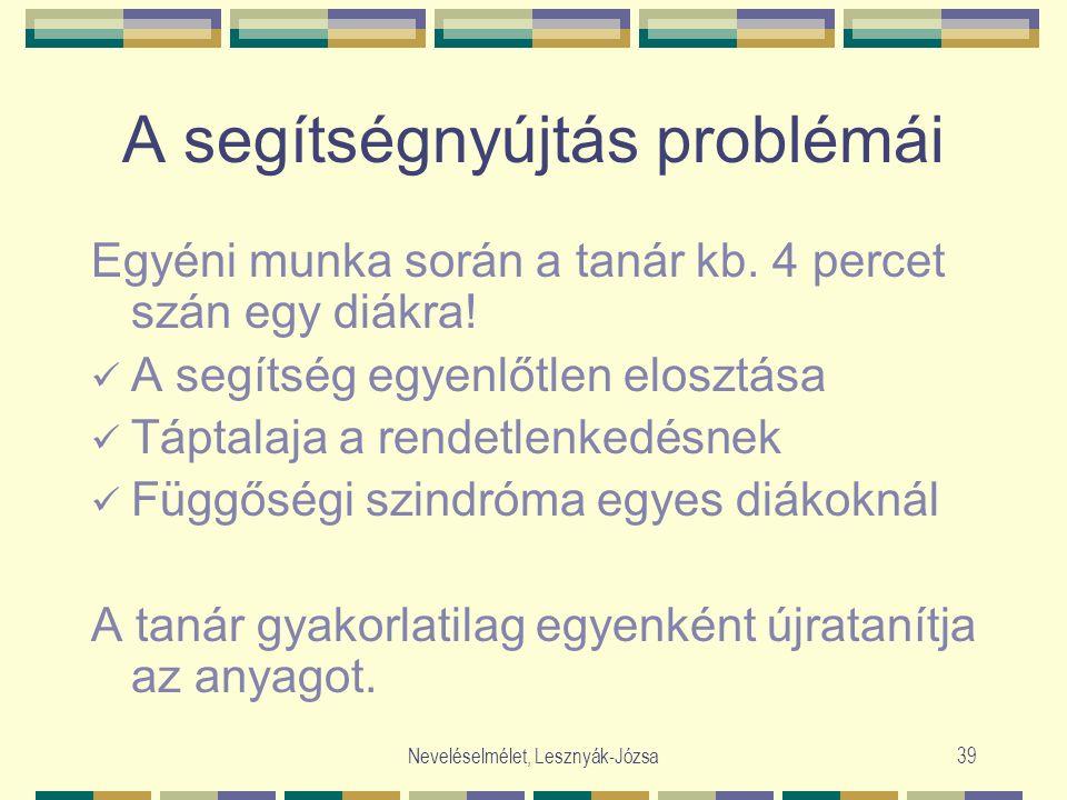 Neveléselmélet, Lesznyák-Józsa39 A segítségnyújtás problémái Egyéni munka során a tanár kb. 4 percet szán egy diákra! A segítség egyenlőtlen elosztása
