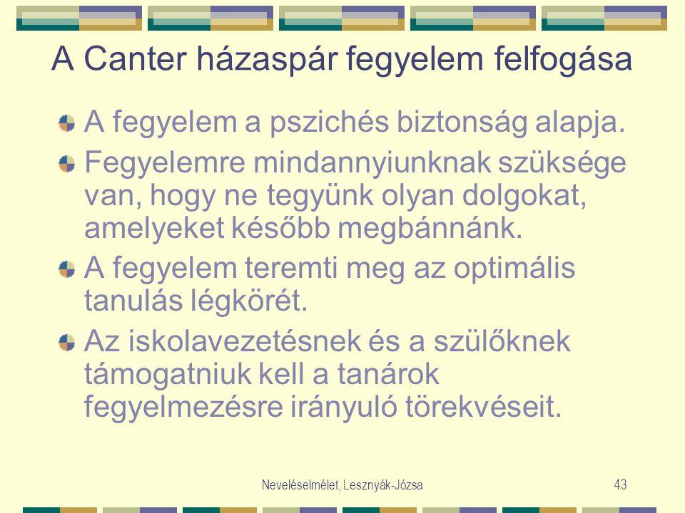 Neveléselmélet, Lesznyák-Józsa43 A Canter házaspár fegyelem felfogása A fegyelem a pszichés biztonság alapja. Fegyelemre mindannyiunknak szüksége van,