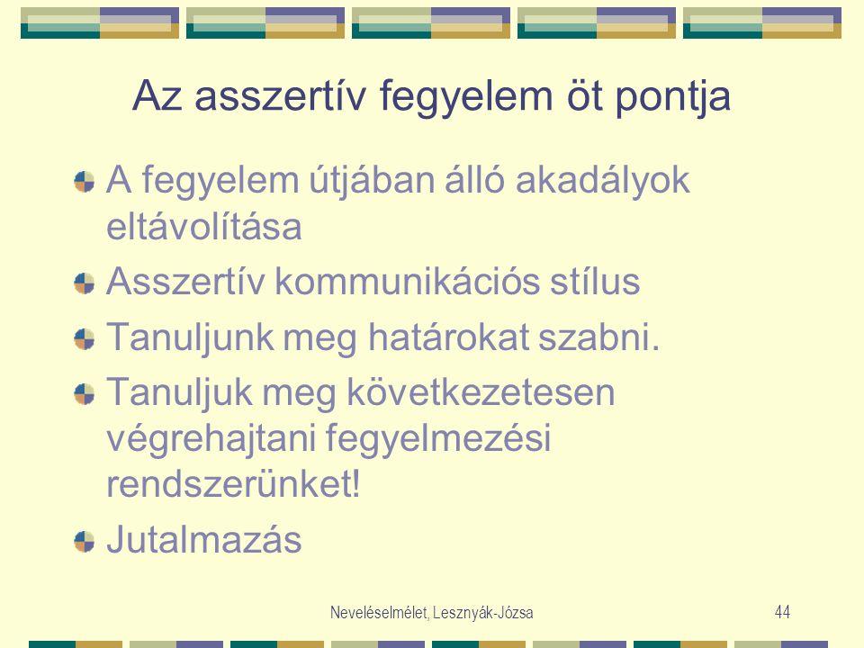 Neveléselmélet, Lesznyák-Józsa44 Az asszertív fegyelem öt pontja A fegyelem útjában álló akadályok eltávolítása Asszertív kommunikációs stílus Tanuljunk meg határokat szabni.