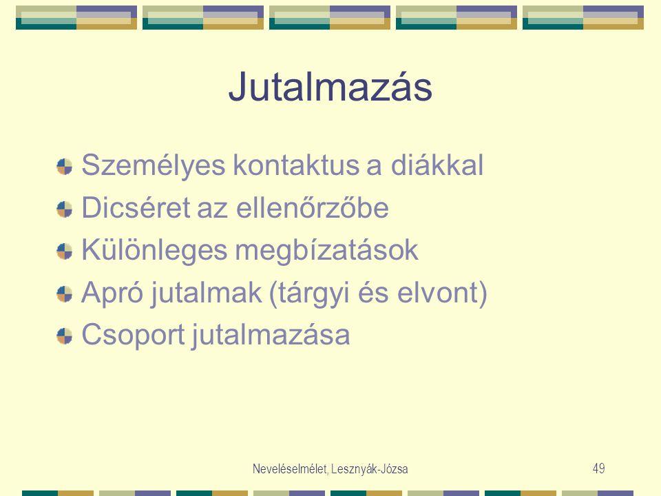 Neveléselmélet, Lesznyák-Józsa49 Jutalmazás Személyes kontaktus a diákkal Dicséret az ellenőrzőbe Különleges megbízatások Apró jutalmak (tárgyi és elvont) Csoport jutalmazása
