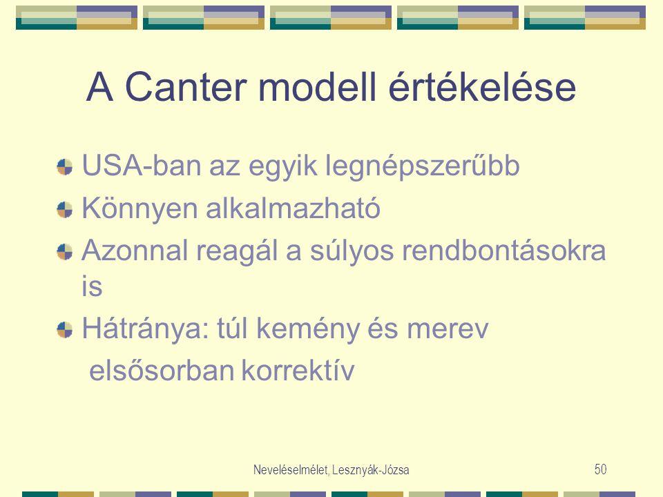 Neveléselmélet, Lesznyák-Józsa50 A Canter modell értékelése USA-ban az egyik legnépszerűbb Könnyen alkalmazható Azonnal reagál a súlyos rendbontásokra is Hátránya: túl kemény és merev elsősorban korrektív
