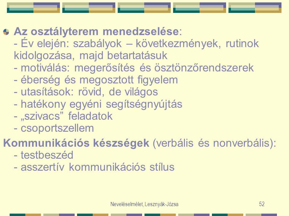 Neveléselmélet, Lesznyák-Józsa52 Az osztályterem menedzselése: - Év elején: szabályok – következmények, rutinok kidolgozása, majd betartatásuk - motiv
