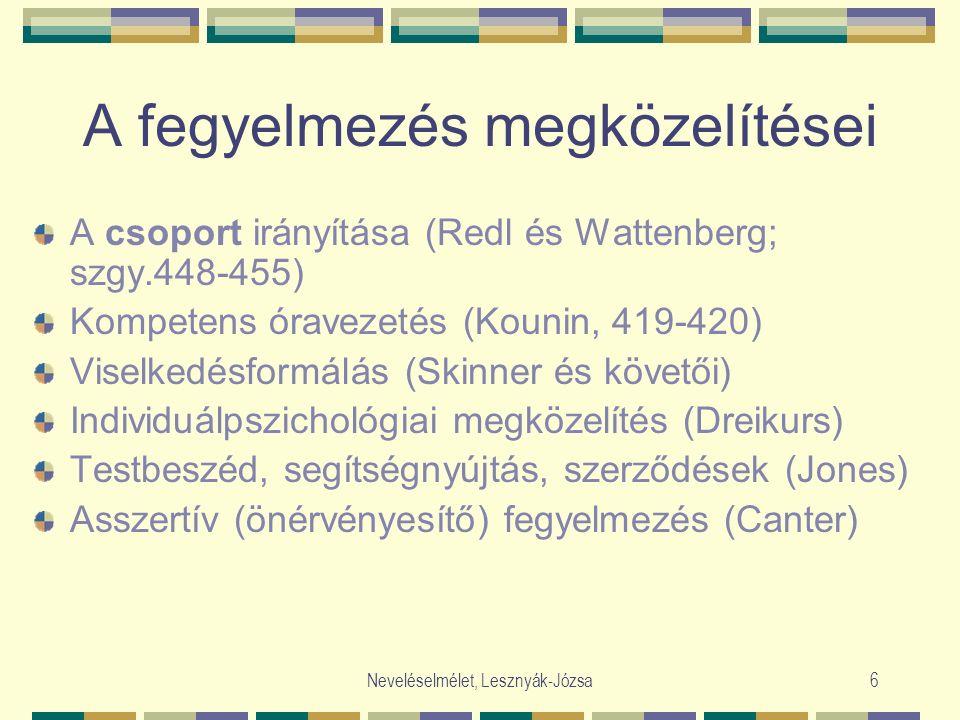 Neveléselmélet, Lesznyák-Józsa6 A fegyelmezés megközelítései A csoport irányítása (Redl és Wattenberg; szgy.448-455) Kompetens óravezetés (Kounin, 419