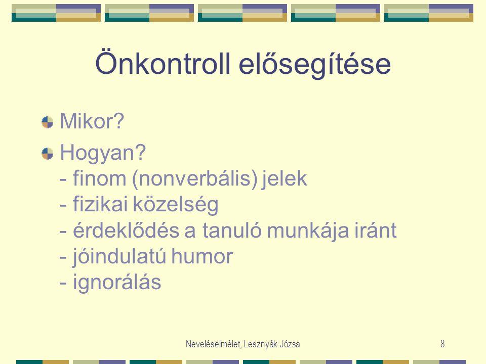 Neveléselmélet, Lesznyák-Józsa8 Önkontroll elősegítése Mikor? Hogyan? - finom (nonverbális) jelek - fizikai közelség - érdeklődés a tanuló munkája irá