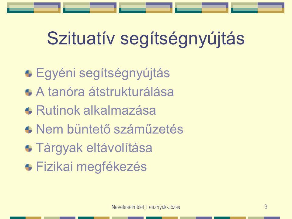 Neveléselmélet, Lesznyák-Józsa9 Szituatív segítségnyújtás Egyéni segítségnyújtás A tanóra átstrukturálása Rutinok alkalmazása Nem büntető száműzetés Tárgyak eltávolítása Fizikai megfékezés