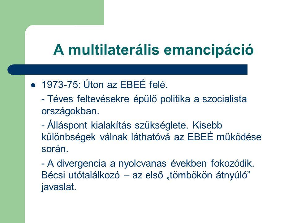 A multilaterális emancipáció 1973-75: Úton az EBEÉ felé.