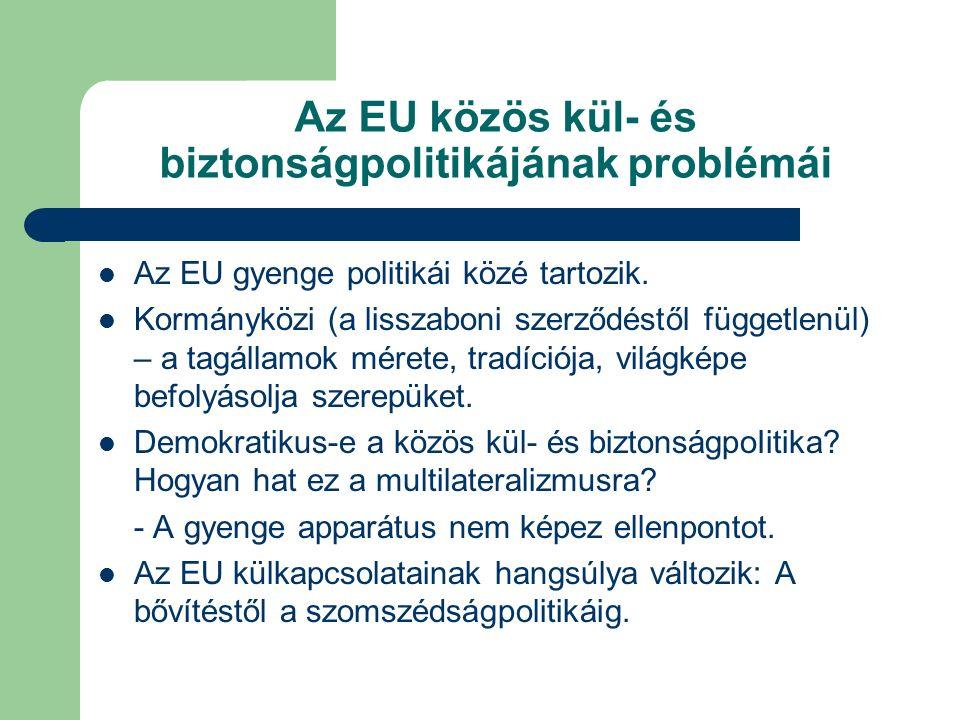 Az EU közös kül- és biztonságpolitikájának problémái Az EU gyenge politikái közé tartozik.