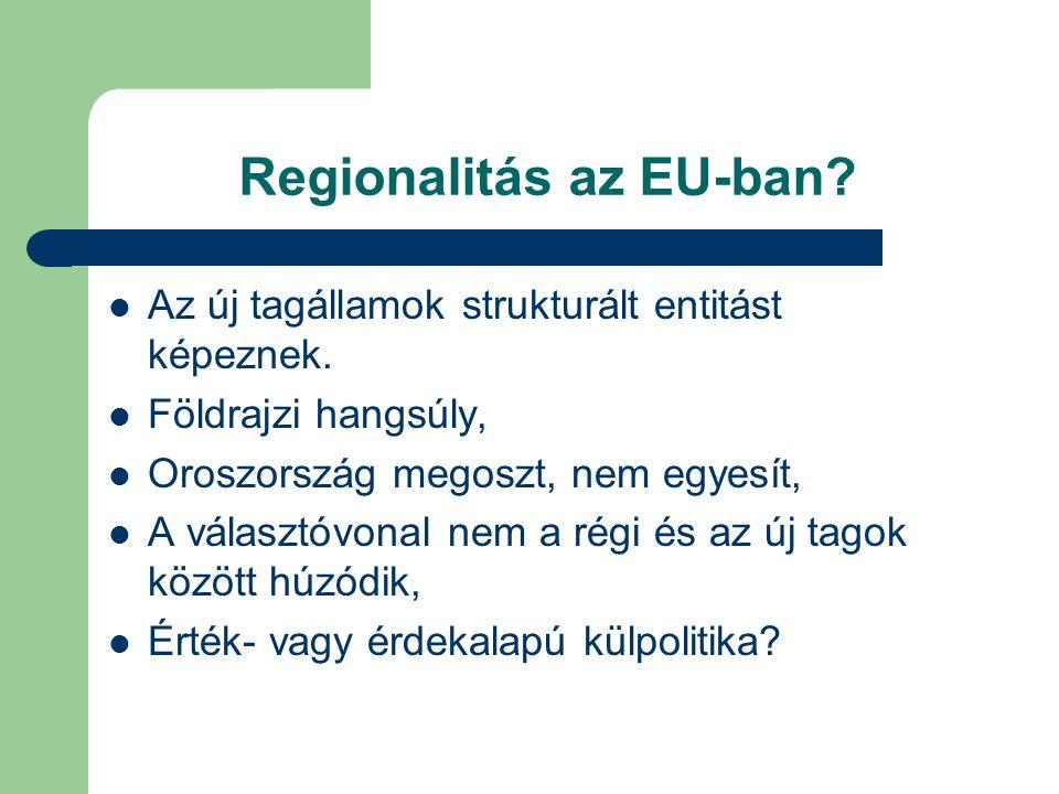 Regionalitás az EU-ban. Az új tagállamok strukturált entitást képeznek.
