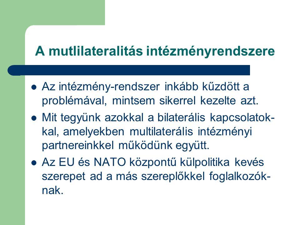 A mutlilateralitás intézményrendszere Az intézmény-rendszer inkább kűzdött a problémával, mintsem sikerrel kezelte azt.