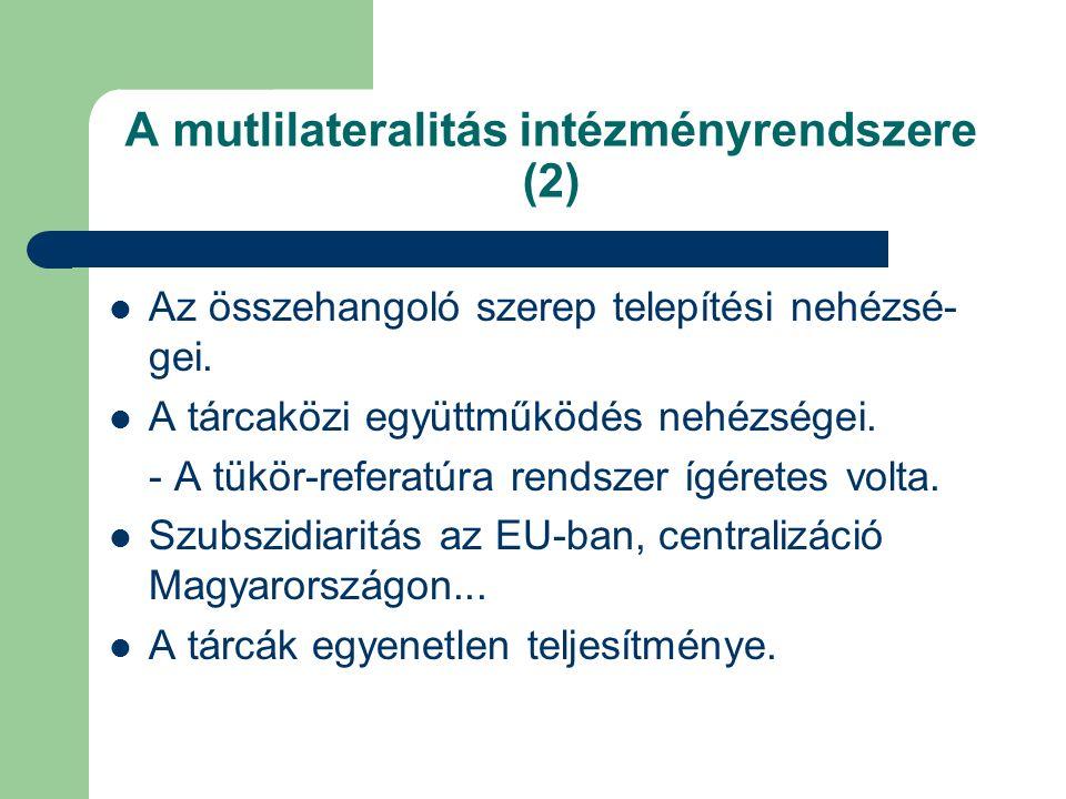 A mutlilateralitás intézményrendszere (2) Az összehangoló szerep telepítési nehézsé- gei.