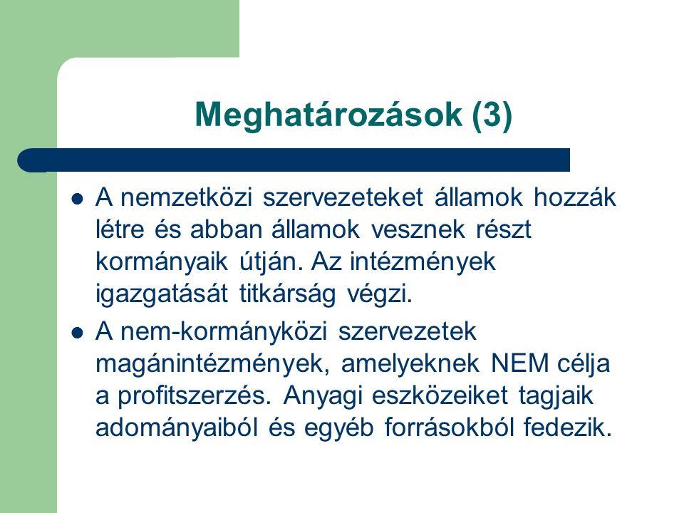 Meghatározások (3) A nemzetközi szervezeteket államok hozzák létre és abban államok vesznek részt kormányaik útján.