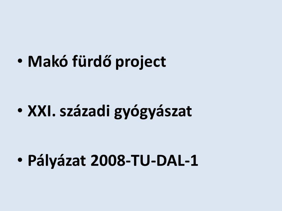 Makó fürdő project XXI. századi gyógyászat Pályázat 2008-TU-DAL-1