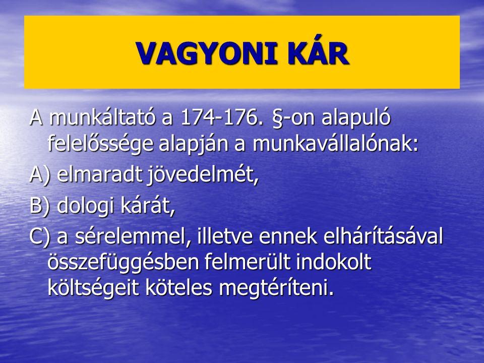 VAGYONI KÁR A munkáltató a 174-176.