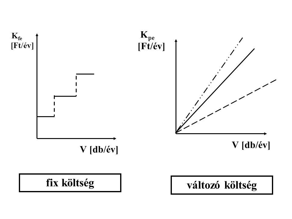 K fe [Ft/év] V [db/év] K pe [Ft/év] V [db/év] fix költség változó költség