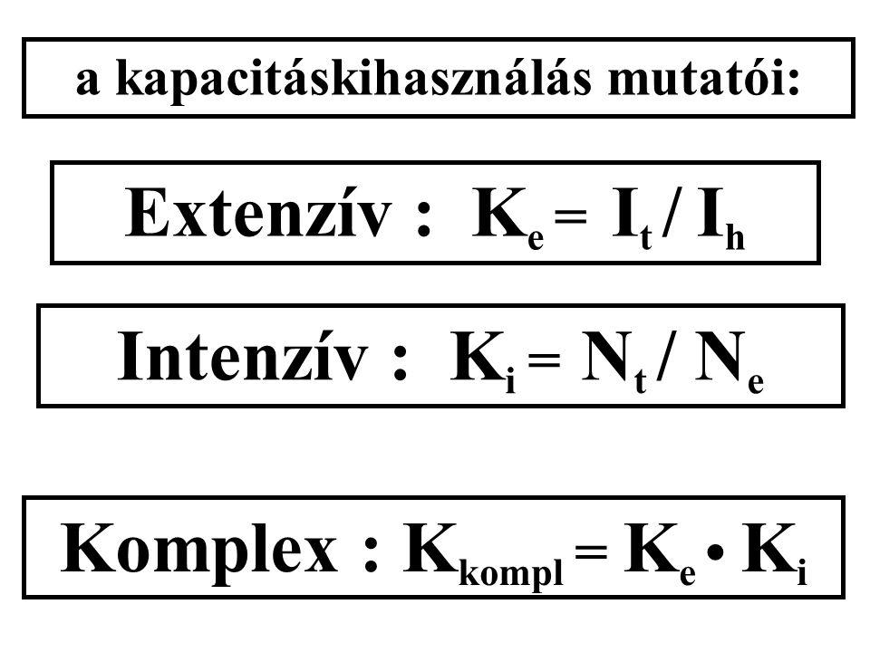 a kapacitáskihasználás mutatói: Extenzív : K e = I t / I h Intenzív : K i = N t / N e Komplex : K kompl = K e K i