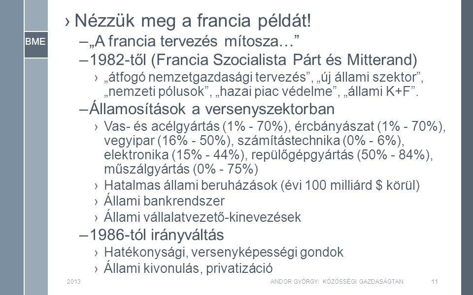 """BME ›Nézzük meg a francia példát! –""""A francia tervezés mítosza…"""" –1982-től (Francia Szocialista Párt és Mitterand) ›""""átfogó nemzetgazdasági tervezés"""","""