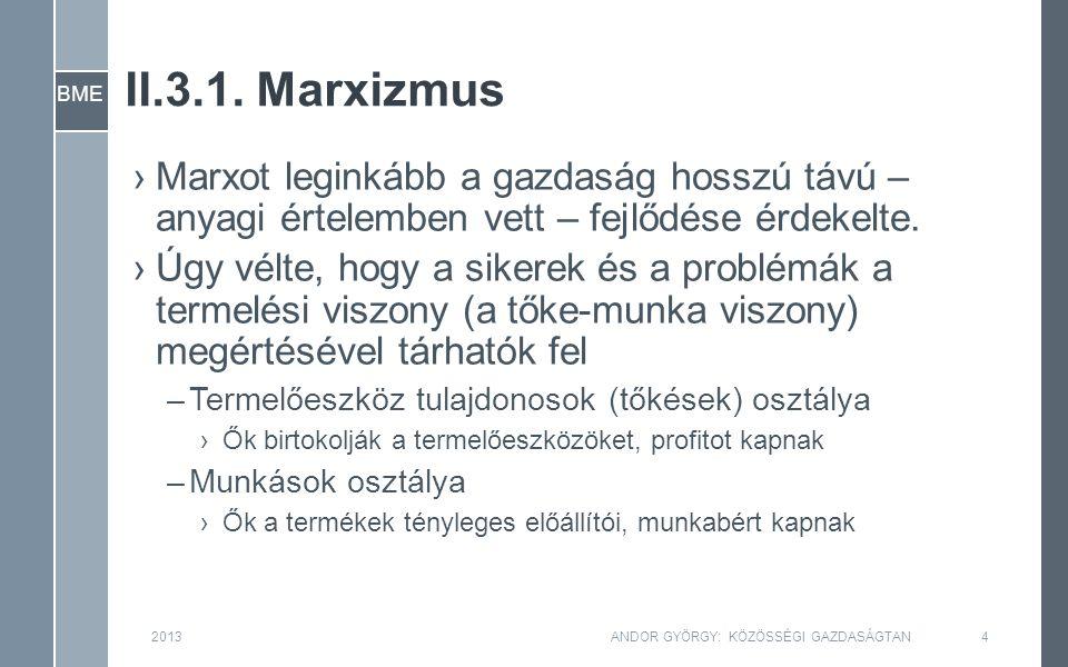 BME II.3.1. Marxizmus 2013ANDOR GYÖRGY: KÖZÖSSÉGI GAZDASÁGTAN4 ›Marxot leginkább a gazdaság hosszú távú – anyagi értelemben vett – fejlődése érdekelte