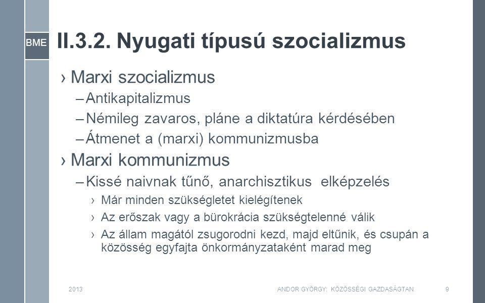 BME II.3.2. Nyugati típusú szocializmus 2013ANDOR GYÖRGY: KÖZÖSSÉGI GAZDASÁGTAN9 ›Marxi szocializmus –Antikapitalizmus –Némileg zavaros, pláne a dikta