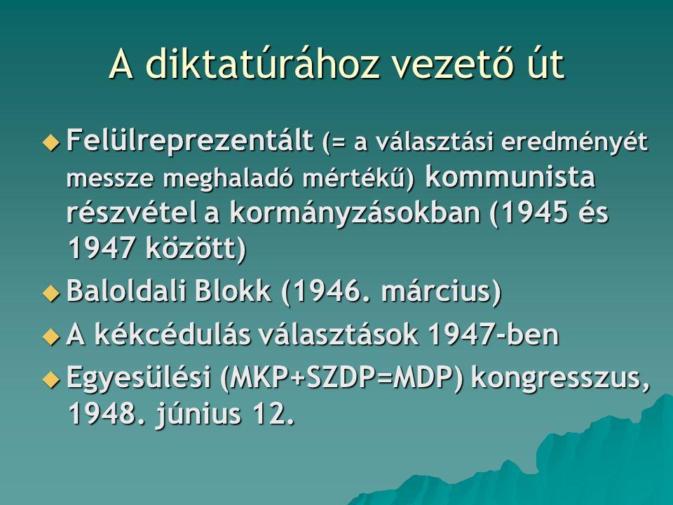 A diktatúrához vezető út  Felülreprezentált (= a választási eredményét messze meghaladó mértékű) kommunista részvétel a kormányzásokban (1945 és 1947