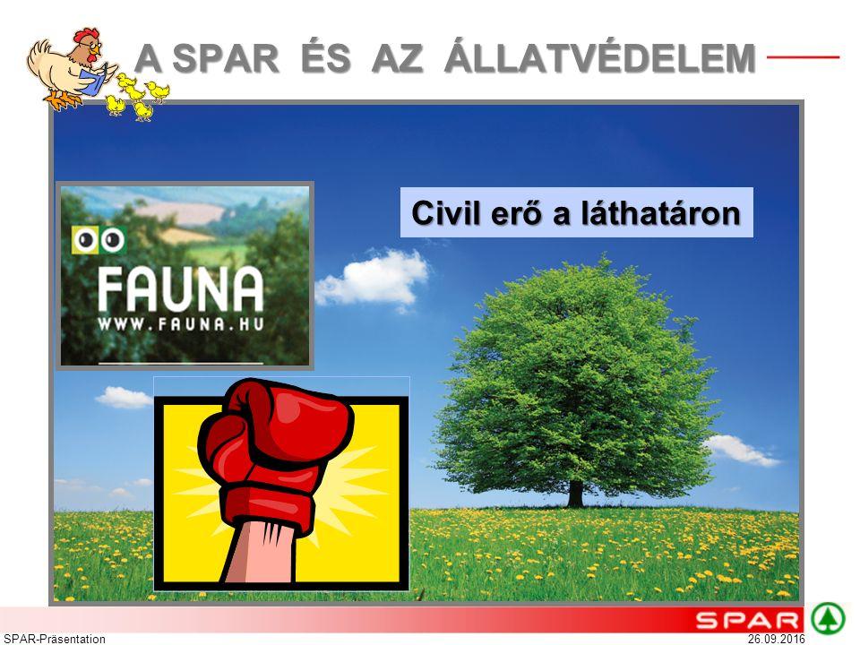 Civil erő a láthatáron 26.09.2016SPAR-Präsentation A SPAR ÉS AZ ÁLLATVÉDELEM A SPAR ÉS AZ ÁLLATVÉDELEM