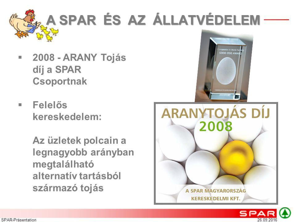 26.09.2016SPAR-Präsentation Intézkedések 2012-ig  Az EU törvényi előírásai alapján 2012-ig minden termelőnek át kell állnia a hagyományos ketreces tartásról egyéb tartásmódra  A SPAR beszállítóival egyeztetve lépéseket tesz a ketreces tartásból származó tojások folyamatos kivonására az üzletekből  Fauna Egyesülettel közös kommunikáció a vásárlók tájékoztatása érdekében A SPAR ÉS AZ ÁLLATVÉDELEM A SPAR ÉS AZ ÁLLATVÉDELEM