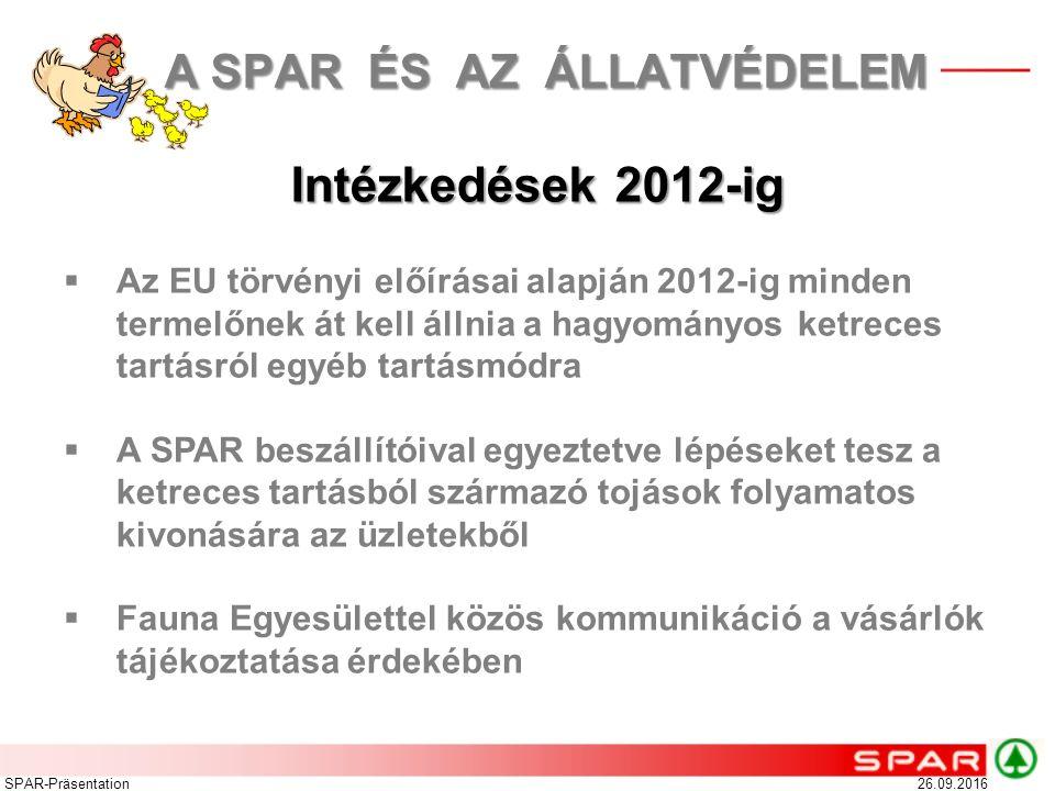 26.09.2016SPAR-Präsentation Intézkedések 2012-ig  Az EU törvényi előírásai alapján 2012-ig minden termelőnek át kell állnia a hagyományos ketreces ta