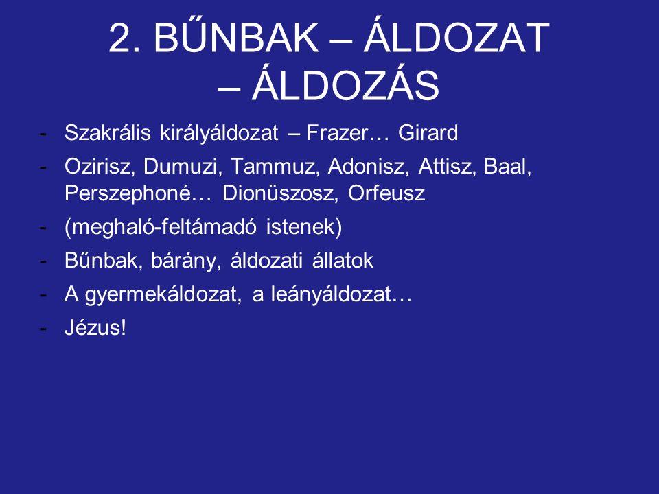 2. BŰNBAK – ÁLDOZAT – ÁLDOZÁS -Szakrális királyáldozat – Frazer… Girard -Ozirisz, Dumuzi, Tammuz, Adonisz, Attisz, Baal, Perszephoné… Dionüszosz, Orfe
