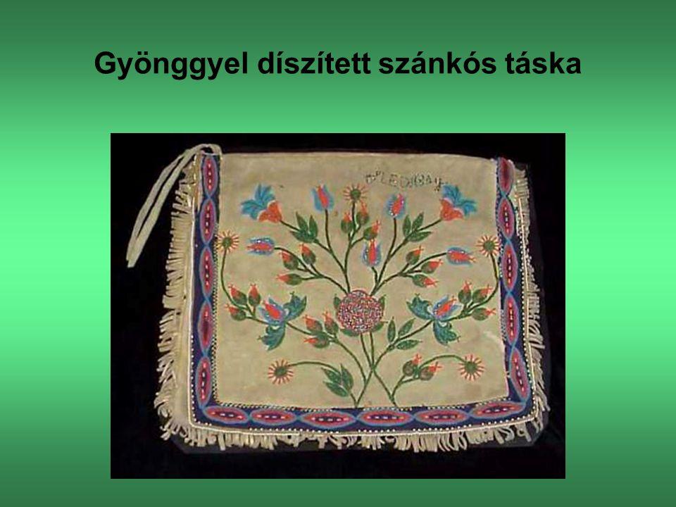 Gyönggyel díszített szánkós táska
