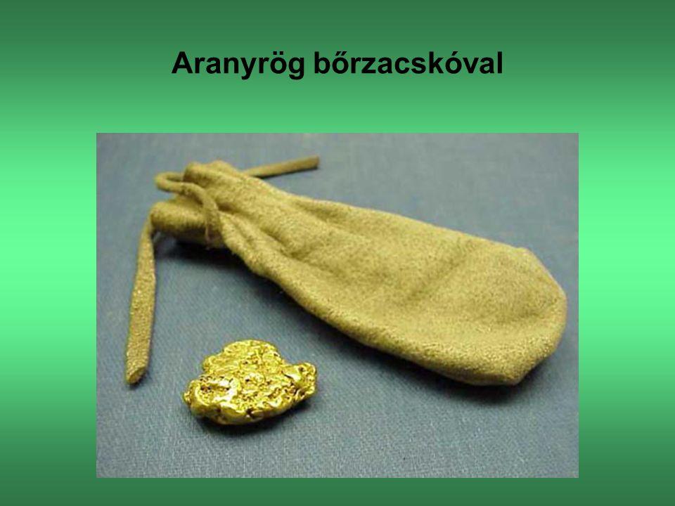 Aranyrög bőrzacskóval