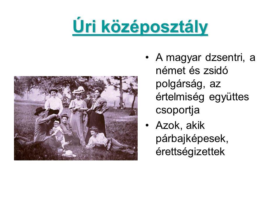 Úri középosztály A magyar dzsentri, a német és zsidó polgárság, az értelmiség együttes csoportja Azok, akik párbajképesek, érettségizettek