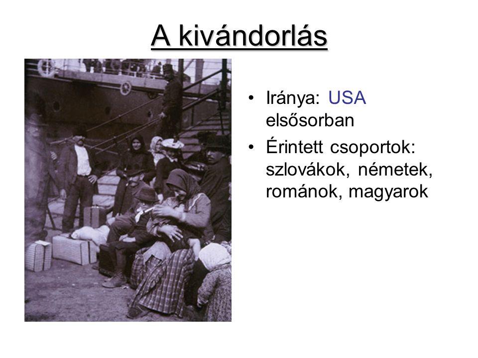 A kivándorlás Iránya: USA elsősorban Érintett csoportok: szlovákok, németek, románok, magyarok