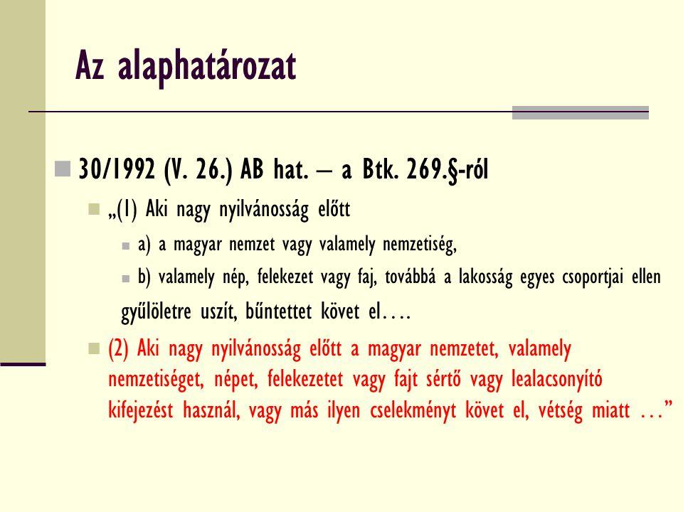 Az alaphatározat 30/1992 (V. 26.) AB hat. – a Btk.