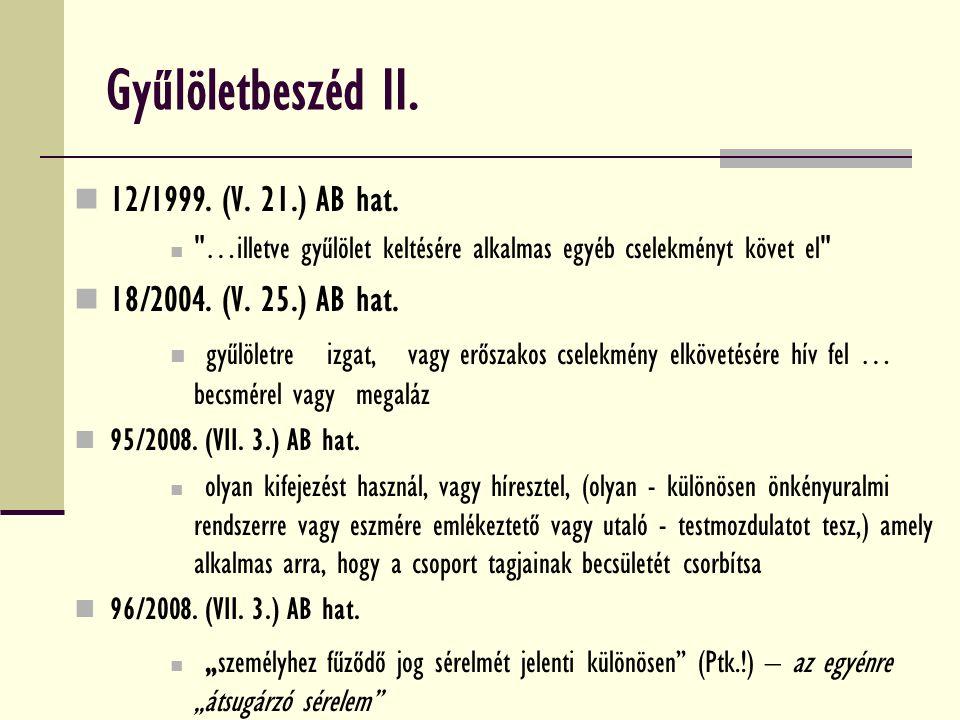 Gyűlöletbeszéd II. 12/1999. (V. 21.) AB hat.