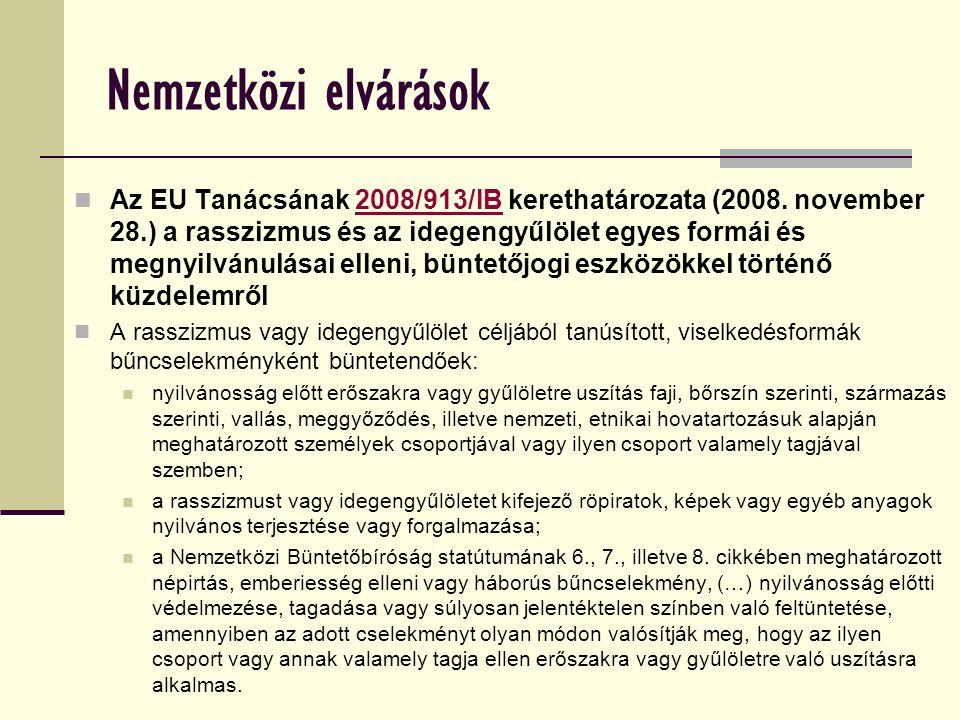Nemzetközi elvárások Az EU Tanácsának 2008/913/IB kerethatározata (2008.
