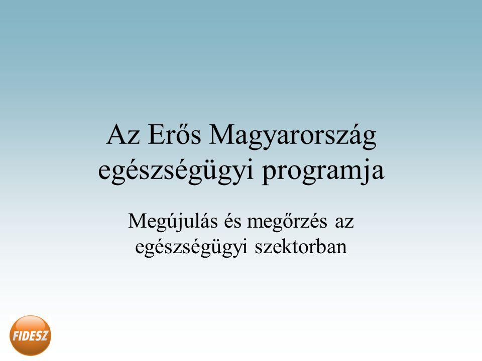 Az Erős Magyarország egészségügyi programja Megújulás és megőrzés az egészségügyi szektorban