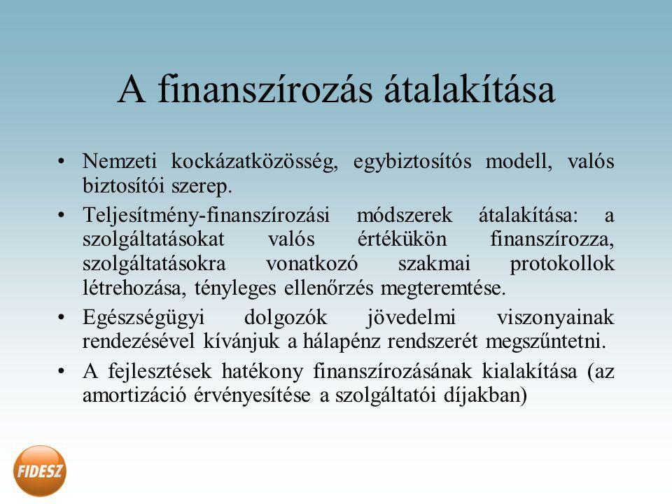 A finanszírozás átalakítása Nemzeti kockázatközösség, egybiztosítós modell, valós biztosítói szerep.