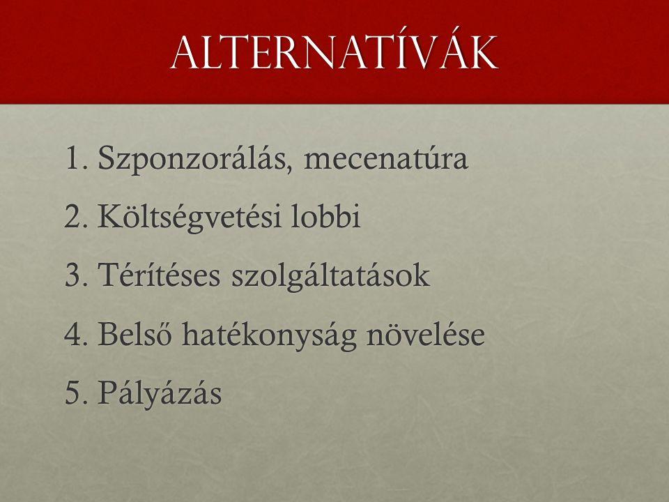 Alternatívák 1.Szponzorálás, mecenatúra 2.Költségvetési lobbi 3.Térítéses szolgáltatások 4.Bels ő hatékonyság növelése 5.Pályázás