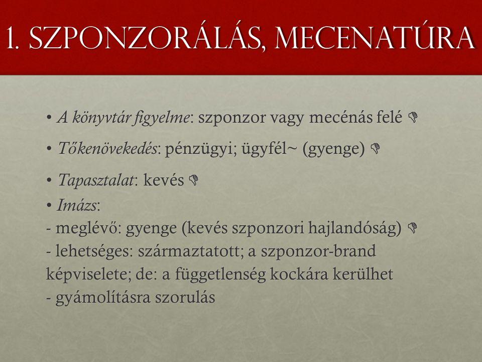 1. Szponzorálás, mecenatúra A könyvtár figyelme : szponzor vagy mecénás felé  A könyvtár figyelme : szponzor vagy mecénás felé  T ő kenövekedés : pé