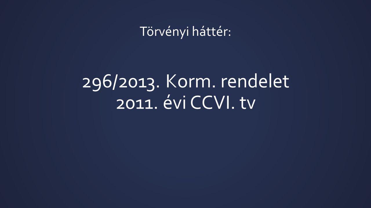 296/2013. Korm. rendelet 2011. évi CCVI. tv Törvényi háttér: